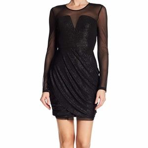 BCBGeration Sparkly Mesh Sleeve Cocktail Dress